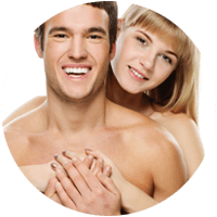 happy Couple with smooth hairless body skin example of laser hair removal