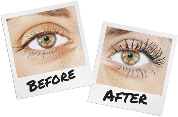 Code Beautiful Cosmetics Mascara before and after effects